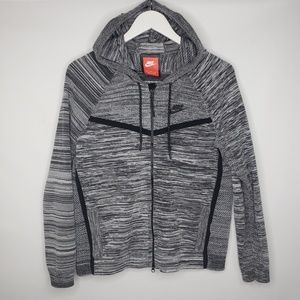 Nike Gray Heather Striped Hoodie Sweatshirt